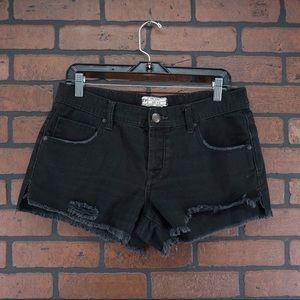 Free People Shorts - FREE PEOPLE Black Frayed Hem Button Fly Shorts